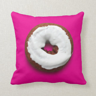 Hot Pink square donut throw pillow