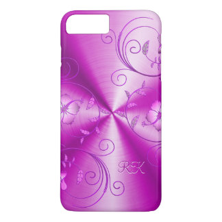 Hot Pink Stainless Steel Look With Floral Accents iPhone 7 Plus Case