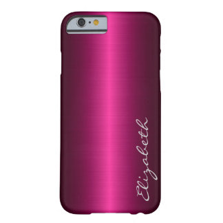 Hot Pink Stainless Steel Metal Look Barely There iPhone 6 Case