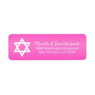 Hot Pink Star of David Bat Mitzvah Return Address
