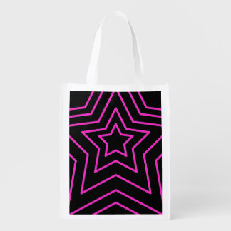 Hot Pink Stars Grocery Bag