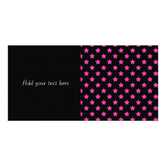 Hot Pink Stars on Black Background Pattern Customized Photo Card