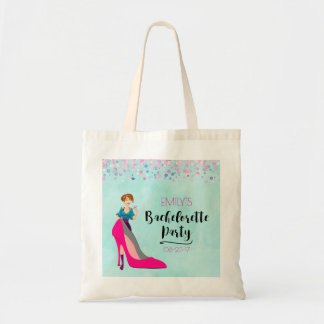 Hot Pink Stiletto and Party Girl Bachelorette Tote Bag