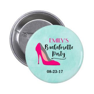 Hot Pink Stiletto High Heel Bachelorette Party 2 Inch Round Button