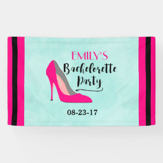 Hot Pink Stiletto High Heel Bachelorette Party Banner