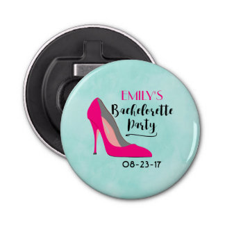 Hot Pink Stiletto High Heel Bachelorette Party Button Bottle Opener