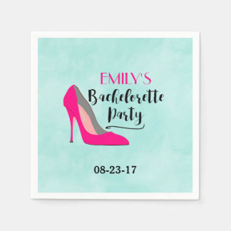 Hot Pink Stiletto High Heel Bachelorette Party Disposable Napkin
