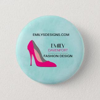 Hot Pink Stiletto High Heel Shoe Chic Business 2 Inch Round Button