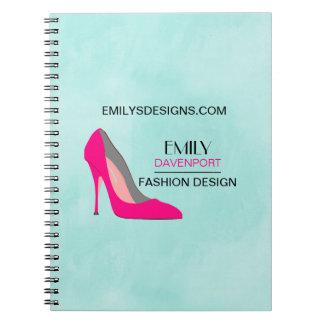 Hot Pink Stiletto High Heel Shoe Chic Business Notebooks