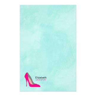 Hot Pink Stiletto High Heel Shoe Chic Personalized Stationery