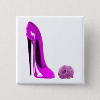 Hot Pink Stiletto Shoe and Rose 2 Inch Square Button
