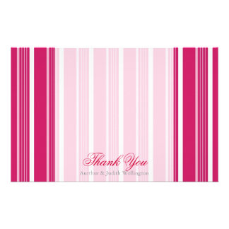"Hot Pink Striped Personalized ""Thank You"" Stationery"