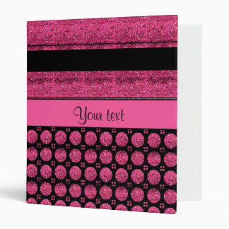 Hot Pink Stripes And Glitter Spots 3 Ring Binder
