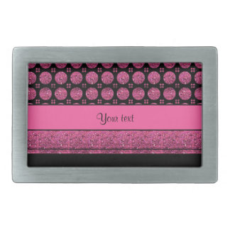 Hot Pink Stripes And Glitter Spots Belt Buckles