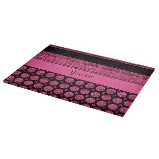 Hot Pink Stripes And Glitter Spots Cutting Board