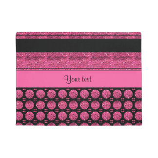 Hot Pink Stripes And Glitter Spots Doormat