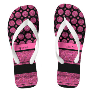 Hot Pink Stripes And Glitter Spots Flip Flops
