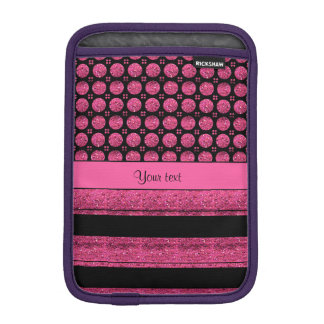 Hot Pink Stripes And Glitter Spots iPad Mini Sleeves