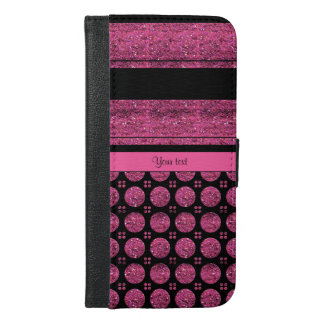 Hot Pink Stripes And Glitter Spots iPhone 6/6s Plus Wallet Case