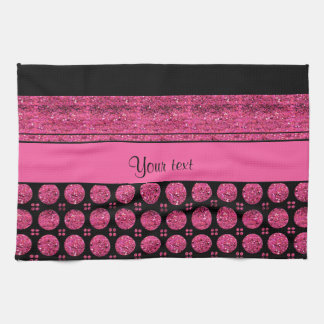Hot Pink Stripes And Glitter Spots Kitchen Towel