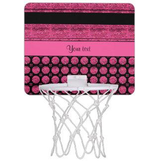 Hot Pink Stripes And Glitter Spots Mini Basketball Hoop