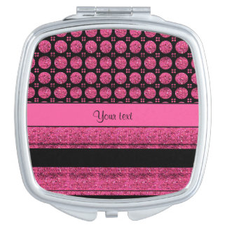 Hot Pink Stripes And Glitter Spots Mirrors For Makeup