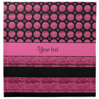 Hot Pink Stripes And Glitter Spots Napkin
