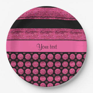 Hot Pink Stripes And Glitter Spots Paper Plate