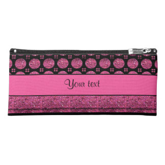 Hot Pink Stripes And Glitter Spots Pencil Case