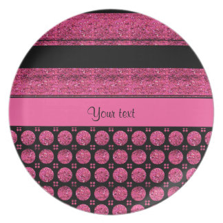 Hot Pink Stripes And Glitter Spots Plate