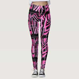 Hot Pink Stripes and Lines  Leggings