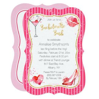Hot Pink Stripes Bachelorette Party Invitation