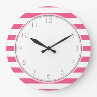 Hot Pink Stripes Pattern Large Clock