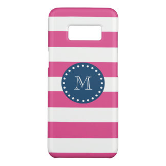 Hot Pink Stripes Pattern, Navy Blue Monogram Case-Mate Samsung Galaxy S8 Case