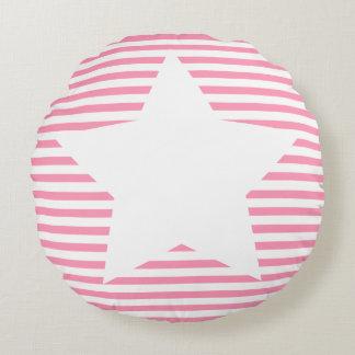 Hot Pink Stripes & White Star - Round Pillow