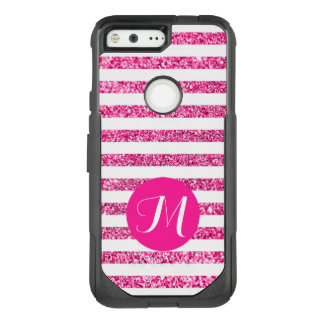 Hot Pink Stripes with Customizable Monogram OtterBox Commuter Google Pixel Case