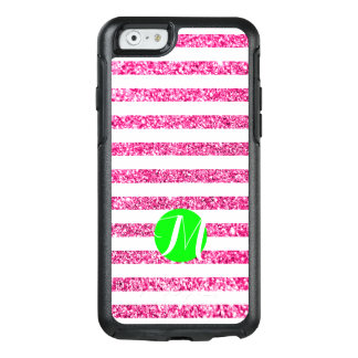Hot Pink Stripes with Lime Monogram OtterBox iPhone 6/6s Case