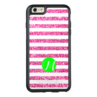 Hot Pink Stripes with Lime Monogram OtterBox iPhone 6/6s Plus Case