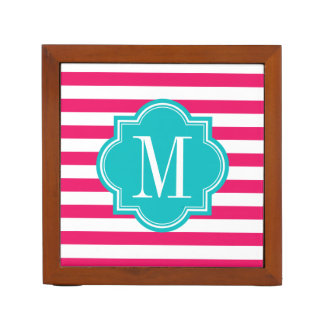 Hot Pink Stripes with Teal Monogram Desk Organizer