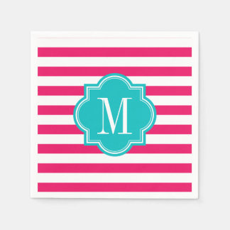 Hot Pink Stripes with Teal Monogram Disposable Napkin