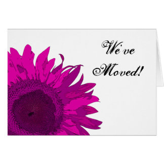 Hot Pink Sunflower Change of Address Card