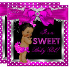 Hot Pink Sweet Baby Shower Girl African American Card
