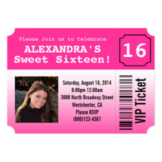 Hot Pink Sweet Sixteen Photo Ticket Invitation