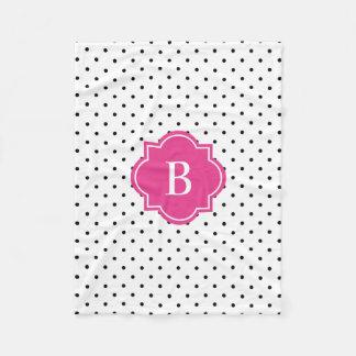 Hot Pink Swiss Dots   Monogram Fleece Blanket