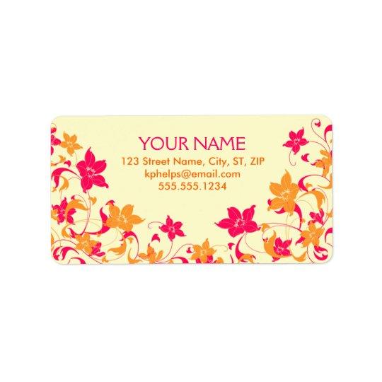 Hot Pink & Tangerine Floral Border Address Label