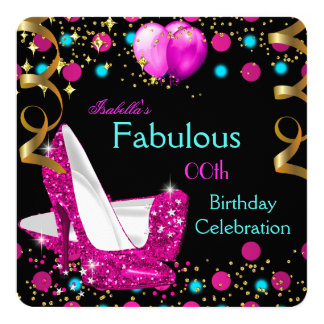 """Hot Pink Teal Blue High Heels Birthday Party 5.25"""" Square Invitation Card"""