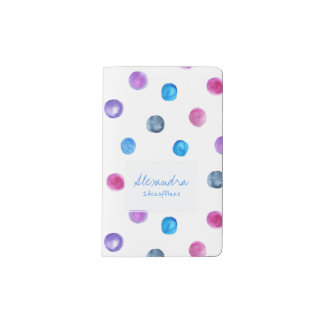 Hot pink teal blue painted watercolor polka dots pocket moleskine notebook