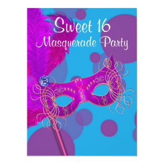 """Hot Pink Teal Blue Sweet 16 Masquerade Party 6.5"""" X 8.75"""" Invitation Card"""