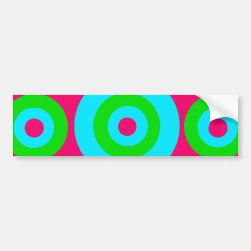 Hot Pink Teal Lime Green Concentric Circles Bumper Stickers