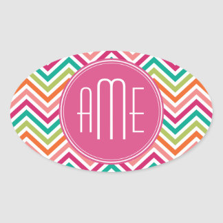 Hot Pink Teal Orange Chevrons Custom Monogram Oval Sticker